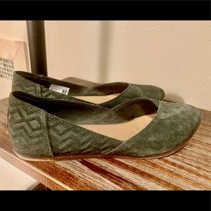 Suede Hunter Green Tom Flats